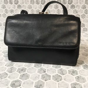 FOSSIL vintage black leather crossbody bag